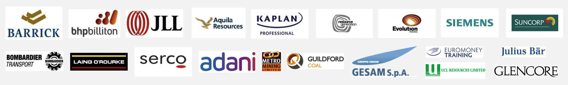 Past clients that we have assisted such as BHP and Adani and Serco